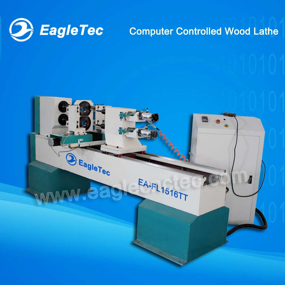 Two Axes Two Cutter Programmable Wood Lathe for Baseball Bat & Balustrade Milling