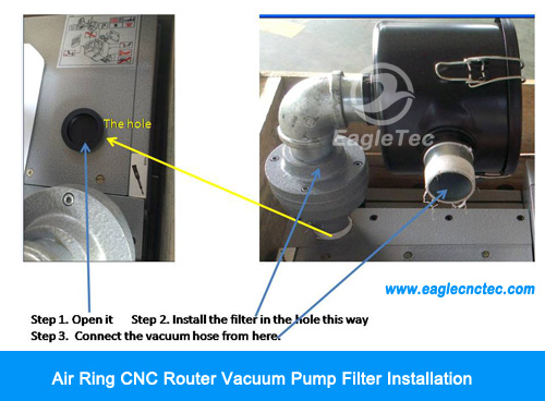 air ring cnc router vacuum pump filter installation and hose connection
